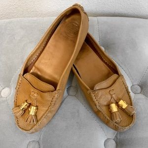 Tory Burch Tan Leather Loafer Moccasins
